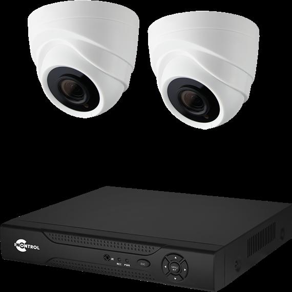 Готовый комплект видеонаблюдения с купольными IP камерами Full HD 1080P 2 Мегапикселя и микрофонами