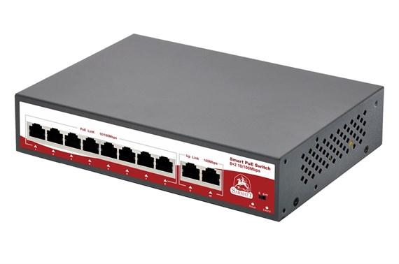 10-портовый РоЕ коммутатор: 8 портов PoE 10/100 Мбит/с (до 30 Вт на порт) + 2 порта 10/100 Мбит/с - фото 8817