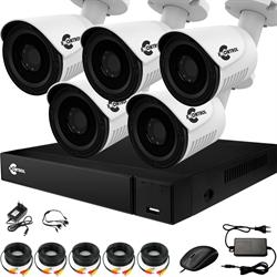 Уличное видеонаблюдение на 5 HD камер для частного дома с возможностью расширения
